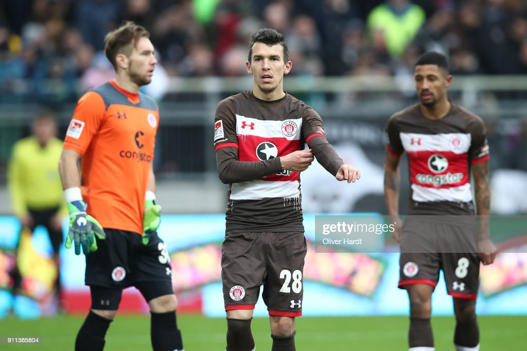 Waldemar Sobota (C) of Pauli appears frustrated during the Second Bundesliga match between FC St. Pauli and SV Darmstadt 98 at Millerntor Stadium on January 28, 2018 in Hamburg, Germany.