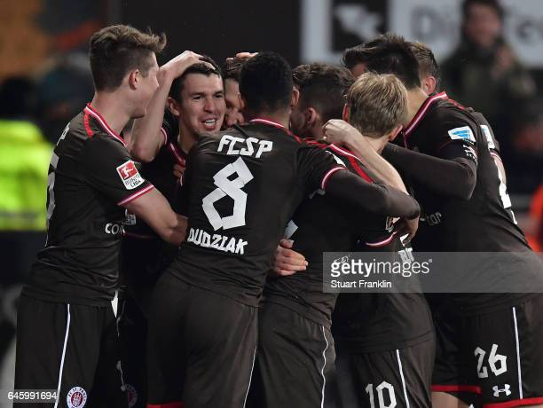 Waldemar Sobota of St Pauli celebrates scoring the second goal during the Second Bundesliga match between FC St Pauli and Karlsruher SC at Millerntor...