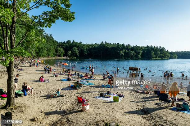 Walden Pond beach is a popular swimming destination