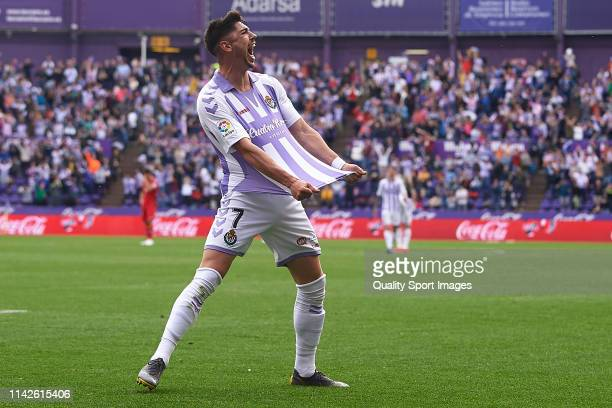 Waldo Rubio of Real Valladolid celebrates prior to the goal being disallowed after a VAR decision during the La Liga match between Real Valladolid CF...