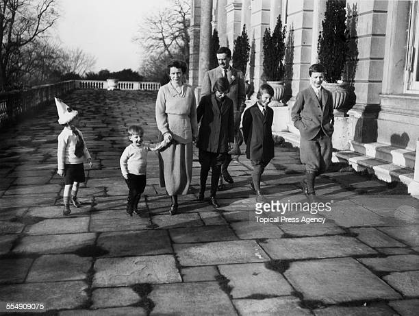 Waldorf Astor 2nd Viscount Astor his wife Americanborn English socialite and politician Nancy Astor Viscountess Astor and their children at their...