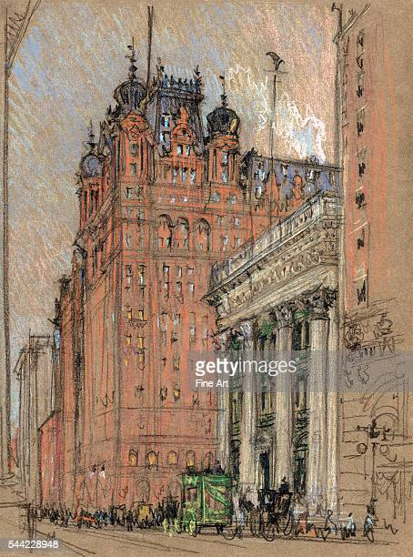 Waldorf Astoria Hotel, showing the hotel at its original 34th St. And Fifth Avenue location. Chalk and crayon drawing over pencil, 29.3 x 23.1 cm,...