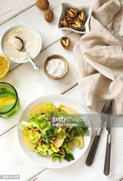 waldorf salad - küchenzubehör stock-fotos und bilder