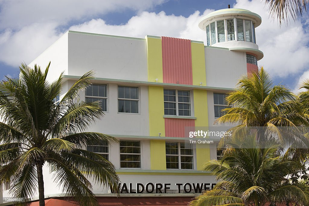 Waldorf Towers Hotel Art Deco Architecture On Ocean Drive South Beach Miami Florida