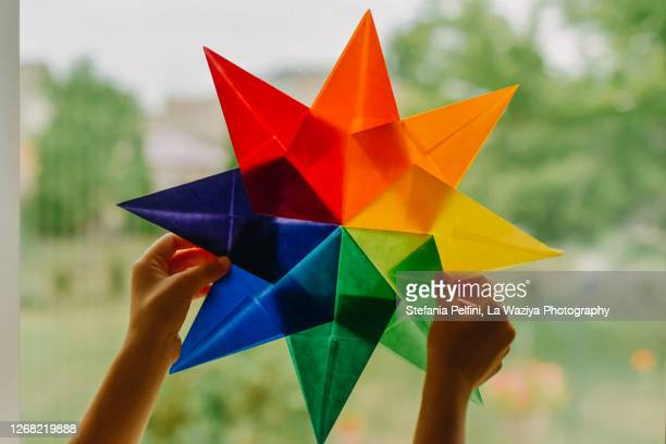 waldorf window rainbow star - shape stock pictures, royalty-free photos & images