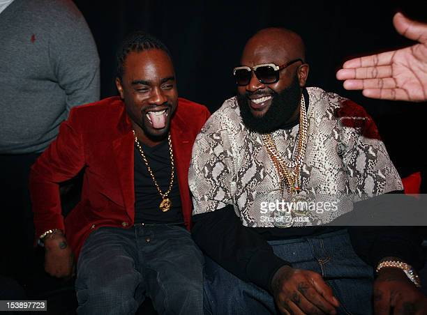 """Wale and Rick Ross attend the album listening party of Meek Mill's """"Dreams and Nightmare"""" at Electric Lady Studio on October 10, 2012 in New York..."""