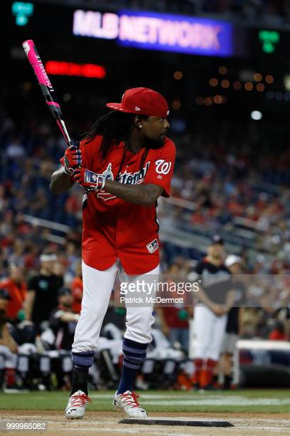 Wale bats during the AllStar and Legends Celebrity Softball Game at Nationals Park on July 15 2018 in Washington DC