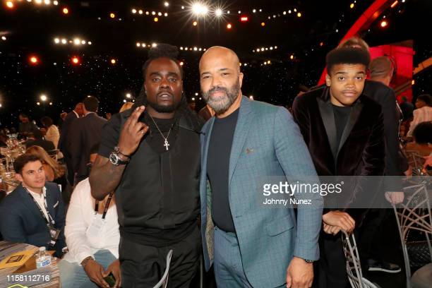 Wale Jeffrey Wright and Elijah Wright pose during the 2019 NBA Awards presented by Kia on TNT at Barker Hangar on June 24 2019 in Santa Monica...
