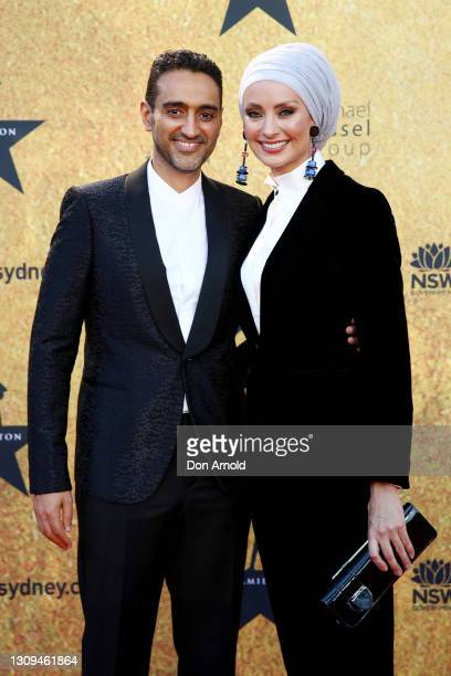 Waleed Aly and Susan Carland attends the Australian premiere of Hamilton at Lyric Theatre, Star City on March 27, 2021 in Sydney, Australia.