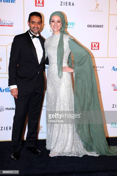 Waleed Aly and wife Susan Carland arrive at the 60th Annual Logie Awards at The Star Gold Coast on July 1 2018 in Gold Coast Australia