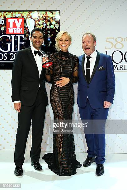 Waleed Aly Carrie Bickmore and Peter Helliar pose with the Logie Award for Best News Panel Or Current Affairs Program 'The Project ' during the 58th...