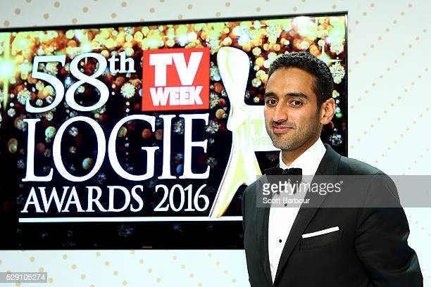 Waleed Aly poses with the Gold Logie Award for Best Personality On Australian TV and Silver Logie for Best Presenter 'The Project' during the 58th...