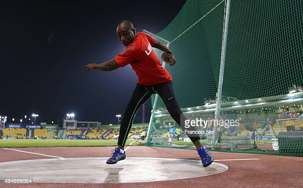 Waleed Ashteebah of Libya competes in the men's discus F42 final during the Evening Session on Day Seven of the IPC Athletics World Championships at...