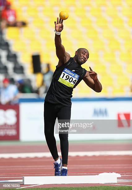 Waleed Ashteebah of Libya competes in the Men's Shot Put F42 Final during the Morning Session on Day One of the IPC Athletics World Championships at...