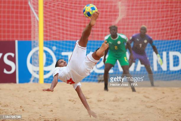 Waleed Beshr of United Arab Emirates plays an overhead kick during the FIFA Beach Soccer World Cup Paraguay 2019 group C match between United Arab...