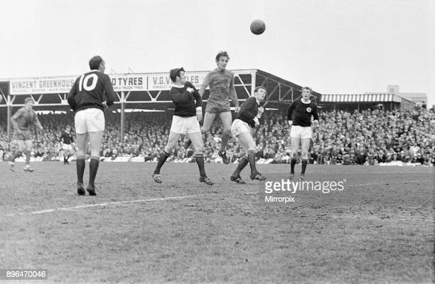 Wales 35 Scotland British International Championship match at the Racecourse Ground Wrexham Ron Davies of Wales out jumps Billy McNeill and John...