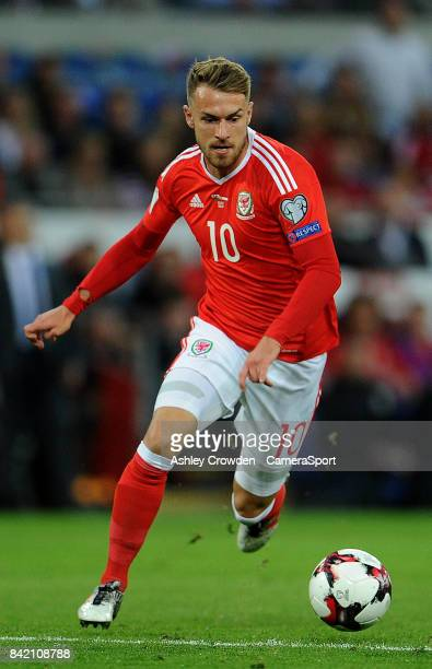 Wales Aaron Ramsey in action during the FIFA 2018 World Cup Qualifier between Wales and Austria at Cardiff City Stadium on September 2 2017 in...