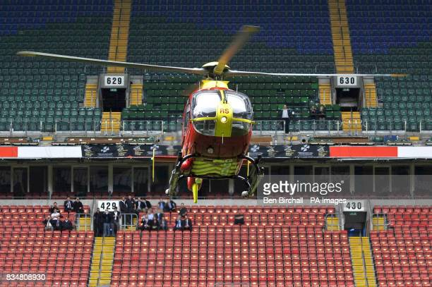 Wales Air Ambulance pilot Pete Cummins lands a Eurocopter EC135 in the Millennium stadium in Cardiff to mark the start of the second annual Wales Air...