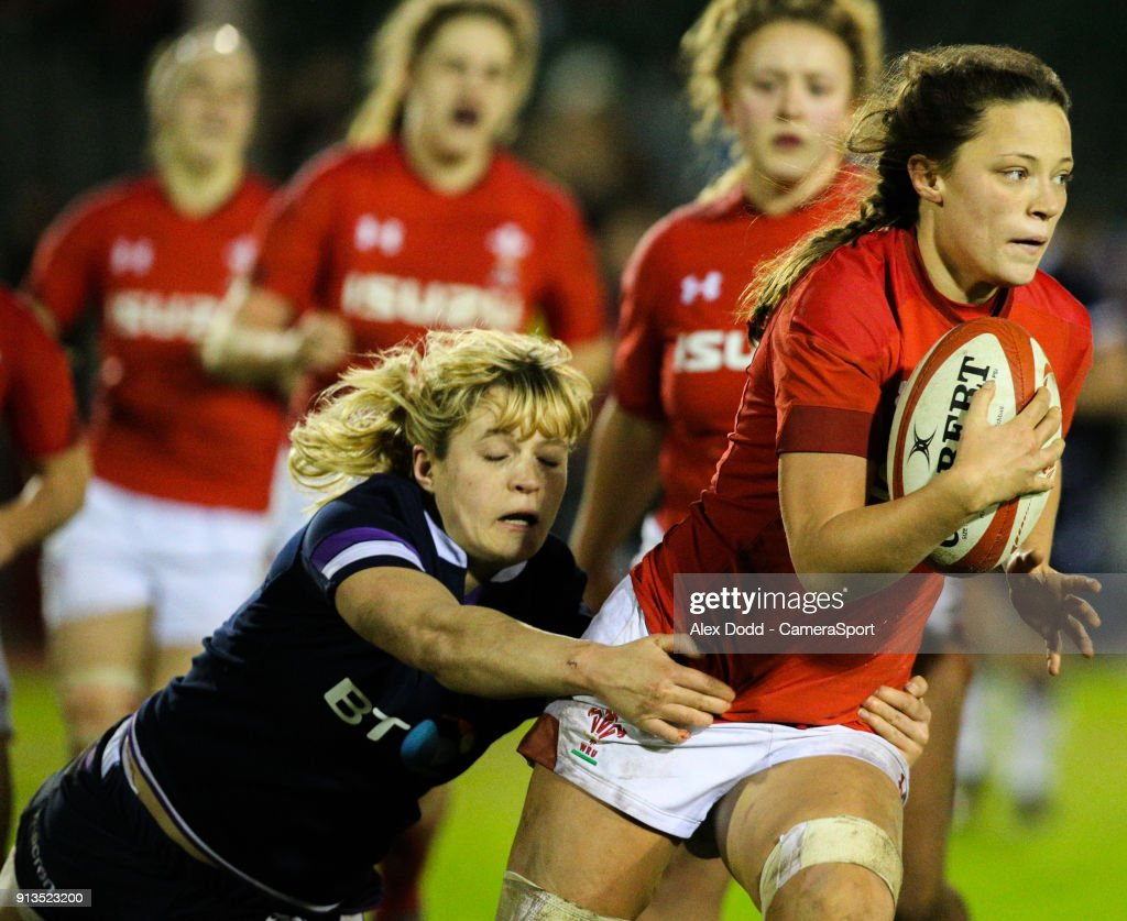 Wales' Alisha Butchers gets away from Scotland's Hannah Smith during the Women's Six Nations Championships Round 1 match between Wales Women and Scotland Women at Eirias Stadium on February 2, 2018 in Colwyn Bay, Wales.