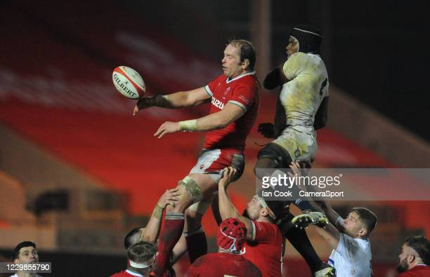 Wales Alun Wyn Jones beats England's Maro Itoje at the line out during the Quilter International match between Wales and England as part of the...