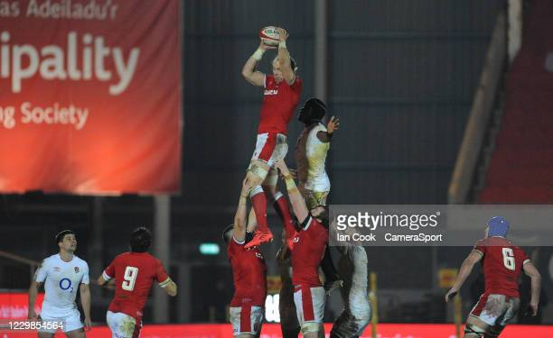 Wales Alun Wyn Jones claims the line out during the Quilter International match between Wales and England as part of the Autumn Nations Cup at Parc y...