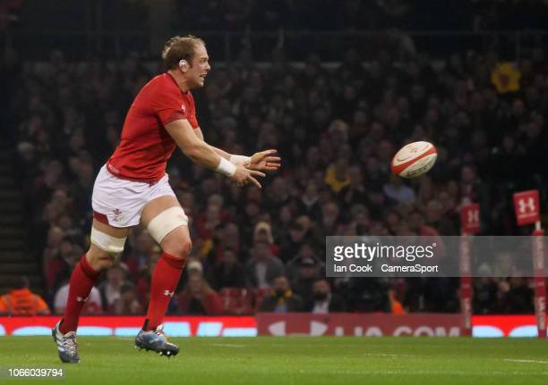 Wales' Alun WynJones offloads during the International Friendly match between Wales and South Africa on November 24 2018 in Cardiff United Kingdom