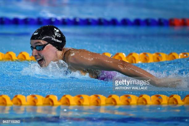Wales' Alys Thomas competes during the swimming women's 200m butterfly final during the 2018 Gold Coast Commonwealth Games at the Optus Aquatic...