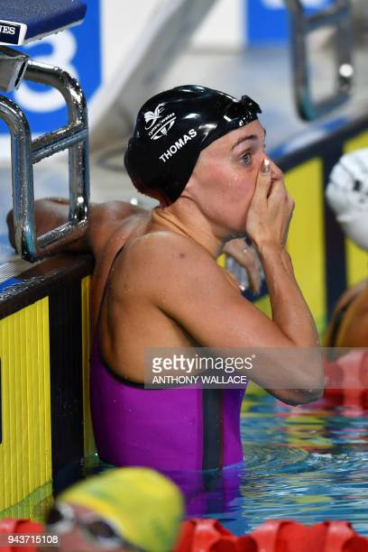 Wales' Alys Thomas reacts after winning the swimming women's 200m butterfly final during the 2018 Gold Coast Commonwealth Games at the Optus Aquatic...