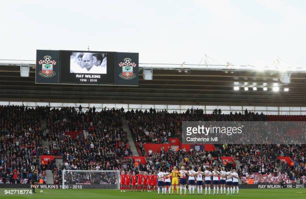 Wales and England line up to pay their respects to ex-England player Ray Wilkins before the Women's World Cup Qualifier match between England and...