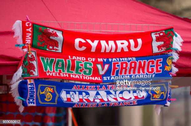 Wales and France scarves during the NatWest Six Nations Championship match between Wales and France at Principality Stadium on March 17 2018 in...
