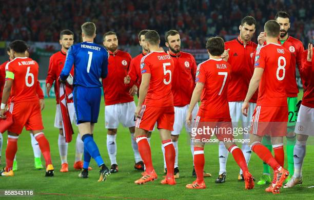 Wales and Georgia players shake hands ahead of the 2018 FIFA World Cup Qualifying Group D match at the Boris Paichadze Dinamo Arena Tbilisi