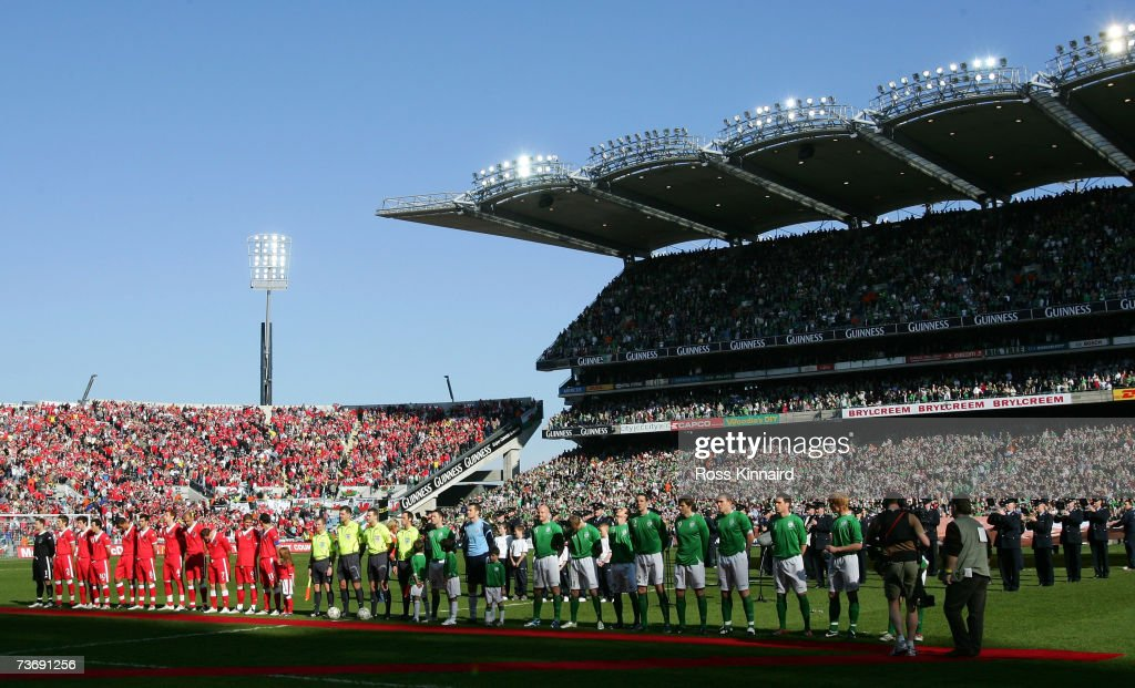 Wales and The Republic of Ireland teams before the Euro2008 Group D Qualifier between the Republic of Ireland and Wales at the Croke Park Stadium on March 24, 2007 in Dublin, Ireland.