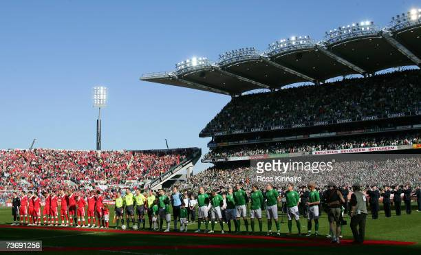 Wales and The Republic of Ireland teams before the Euro2008 Group D Qualifier between the Republic of Ireland and Wales at the Croke Park Stadium on...