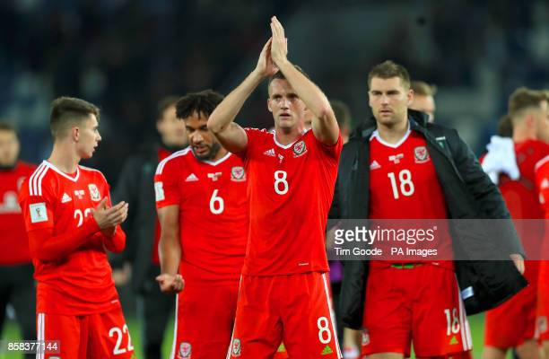 Wales' Andy King applauds the fans after the final whistle of the 2018 FIFA World Cup Qualifying Group D match at the Boris Paichadze Dinamo Arena...
