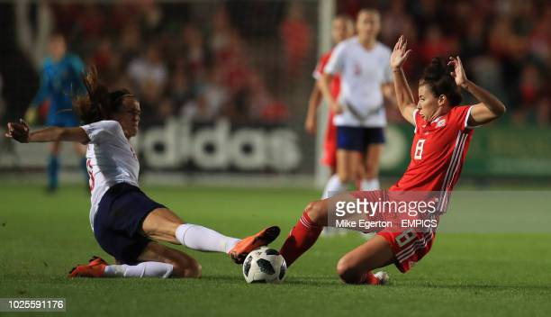 Wales' Angharad James and England's Jill Scott Wales Women v England Women FIFA Women's World Cup 2019 UEFA Qualifier Group 1 Rodney Parade