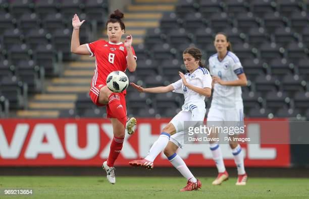 Wales Angharad James is challenged by Bosnia's Selma Kapetanovic during the 2019 FIFA Women's World Cup qualifying group 1 match at the Liberty...