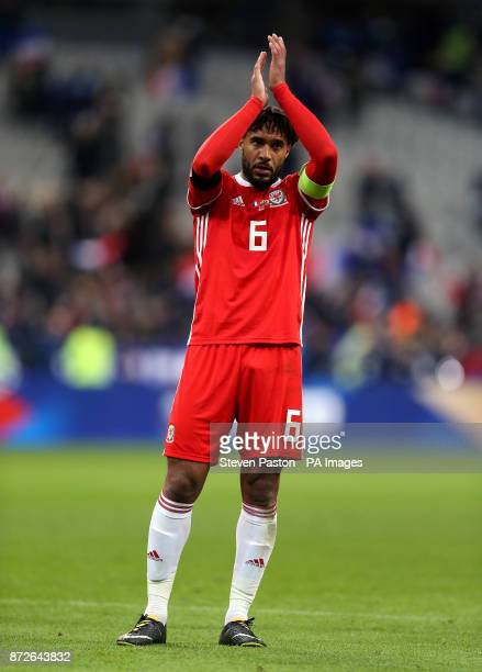 Wales' Ashley Williams applauds fans after the final whistle during the International Friendly match at the Stade de France Paris