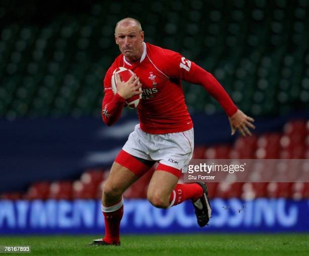 Wales back Gareth Thomas makes a run during the Friendly International Rugby Union Match between Wales and Argentina at the Millennium Stadium on...
