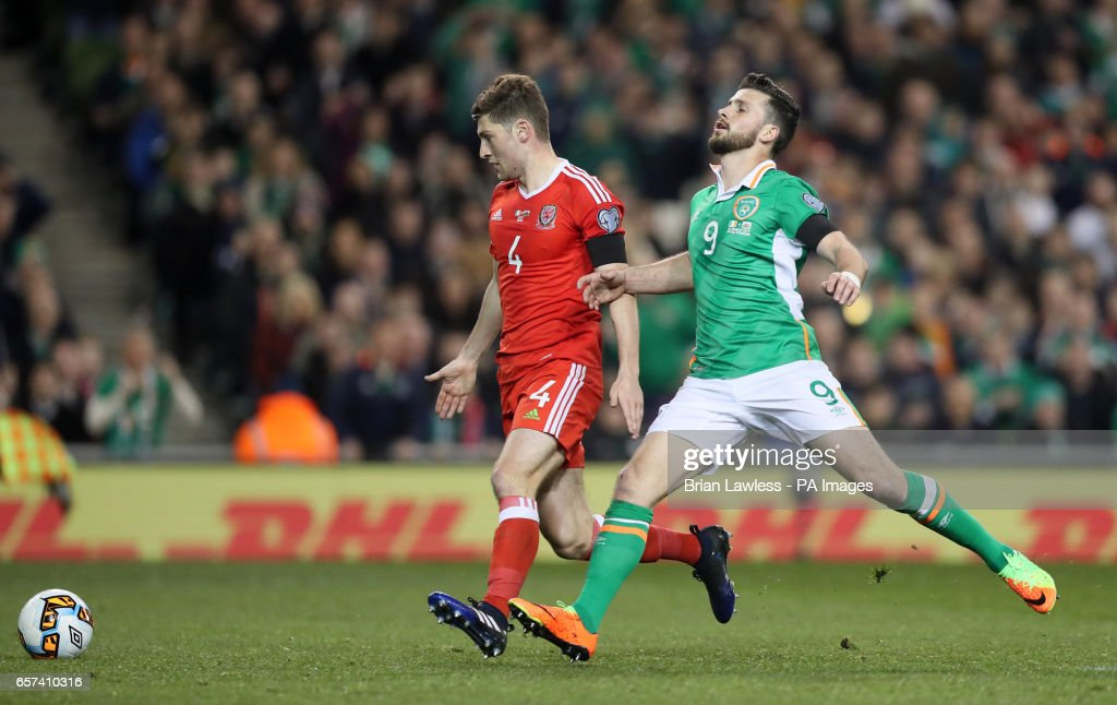 Wales Ben Davies And Republic Of Ireland S Shane Long Battle For The Ball During