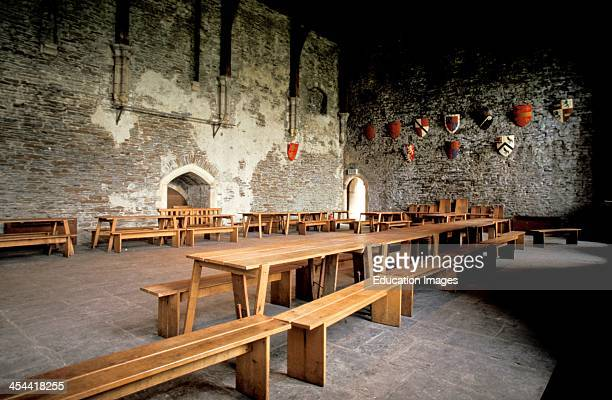 Wales Caerphilly Castle 13Th Century Interior View Of The Great Hall With Tables and Benches