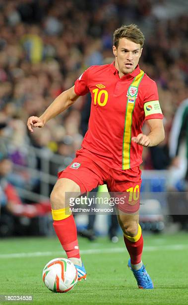 Wales captain Aaron Ramsey in action during the FIFA 2014 World Cup Qualifier Group A match between Wales and Serbia at Cardiff City Stadium on...