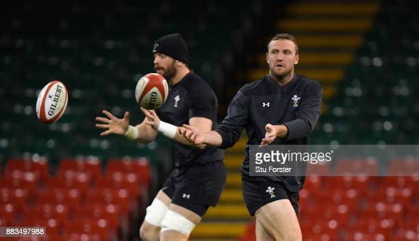 Wales captain Alun Wyn Jones and Hadleigh Parkes in action during Wales Captain's run ahead of their match against the South Africa Springboks at...