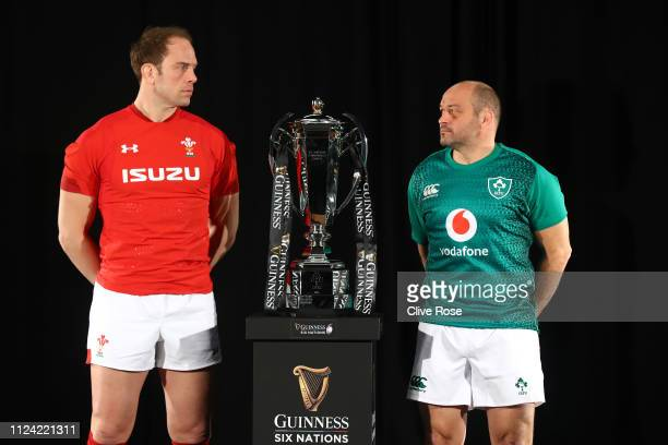 Wales Captain Alun Wyn Jones and Ireland Captain Rory Best pose with the trophy during the 6 Nations Launch event at The Hurlingham Club in west...