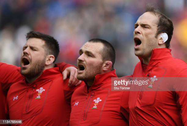 Wales captain Alun Wyn Jones and players Ken Owens and Rob Evans sing the national anthemn before the Guinness Six Nations match between Scotland and...