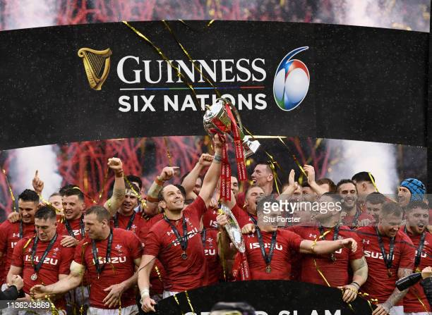 Wales captain Alun Wyn Jones and team mates celebrate with the Championship trophy after their Grand Slam win after the Guinness Six Nations match...