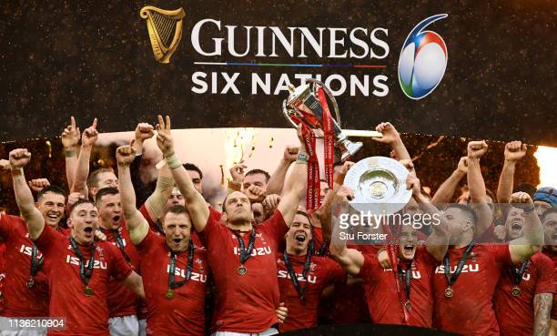 Wales captain Alun Wyn Jones and team mates celebrate with the Championship trophy after the Guinness Six Nations match between Wales and Ireland at...