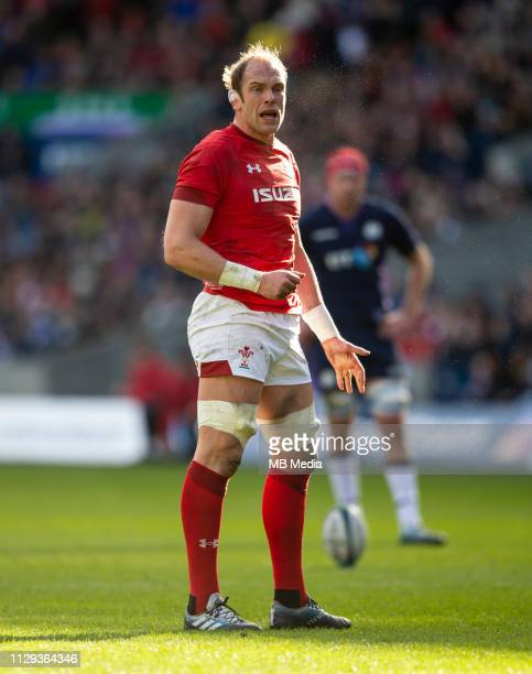 EDINBURGH SCOTLAND MARCH Wales' captain Alun Wyn Jones as Scotland play host to Wales in their 6 Nations clash at Murrayfield Stadium on March 9 2019...