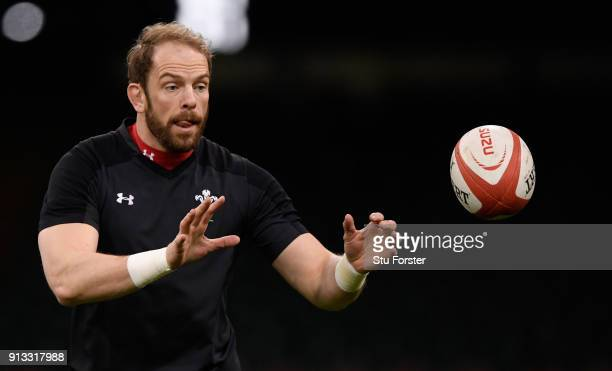 Wales captain Alun Wyn Jones in action during the captain's run ahead of their opening Six Nations match against Scotland at Principality Stadium on...