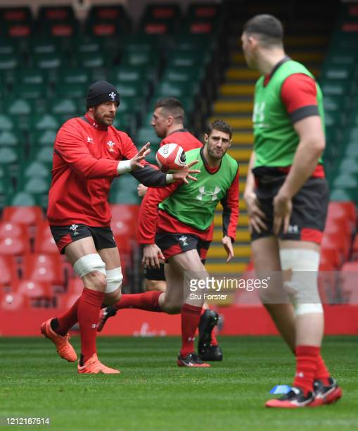 Wales captain Alun Wyn Jones in action during the Wales Captains Run ahead of the Six Nations match against Scotland at Principality Stadium on March...