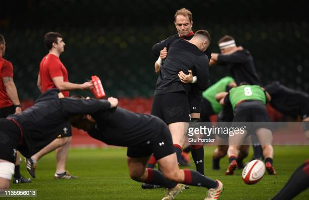 Wales captain Alun Wyn Jones in action during Wales training ahead of the Guinness Six Nations match against Ireland at Millennium Stadium on March...
